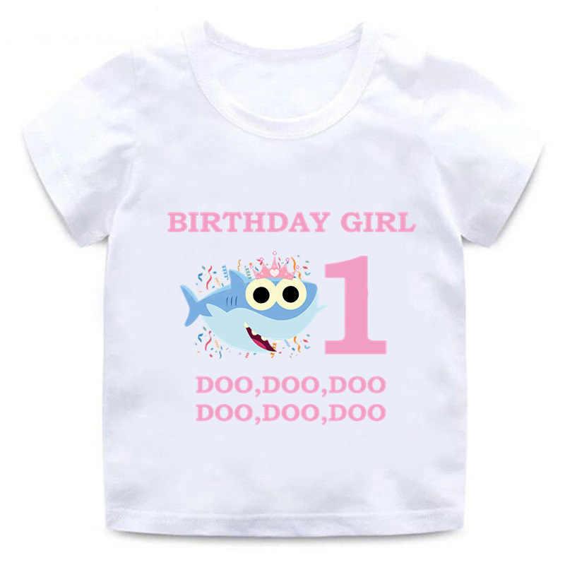 תינוק כריש בגדי ילדים יום הולדת הווה חולצה לילדים מכתב מודפס לבן T חולצה בנות ילד קצר שרוול קריקטורה חולצת טי