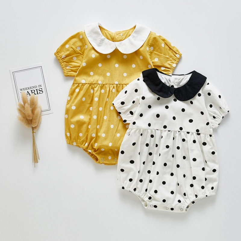 Summer Infant Baby Girl Rompers Clothes Short Sleeve Doll Collar Print Princess Toddler Jumpsuit Playsuit Outfits New