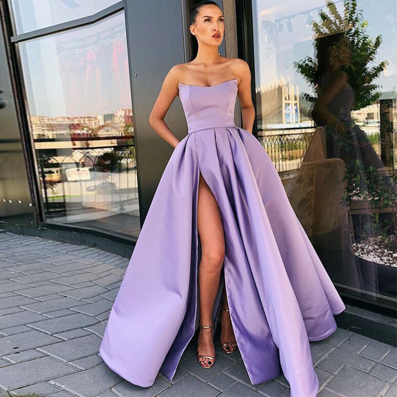 Strapless A-line Long   Prom     Dress   Strapless Purple Satin Party Gowns Sexy High Slit   Prom   Gowns Robe De Soiree Occasion   Dresses