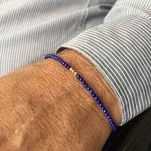 Lapis pulseira para homem lapis lazuli grânulo pulseira de ouro hematite masculino pulseira de pedra azul pulseira de hematite