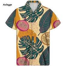 цена на Awaiian Shirt Men Cuban Guayabera Shirt Tropical Fruits Print Short Sleeves Thin Breathable Summer 2020 New Streetwear Camisas