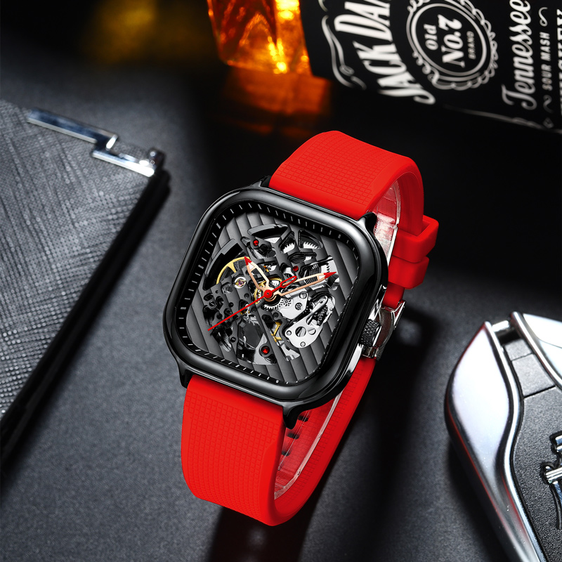 2020 new men's automatic watch top brand luxury silicone strap hollow Swiss square top ten watches 3