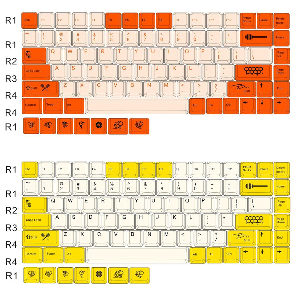 Keycap 84 Keys PBT Sublimation 84 Mechanical Keyboard Original Height Keycaps Personality Supplement Small Bee Big Carbon