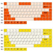 Keycap 84 keys PBT Sublimation Mechanical Keyboard Original Height Keycaps Personality Supplement Small Bee Big Carbon