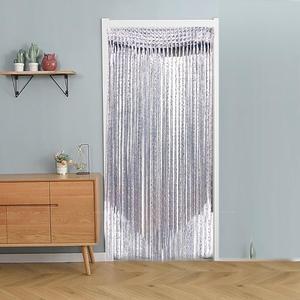 Cortina decorativa de seda para ventana, Panel de cristal para habitación con borla brillante, tablero divisor, suspensión para puerta