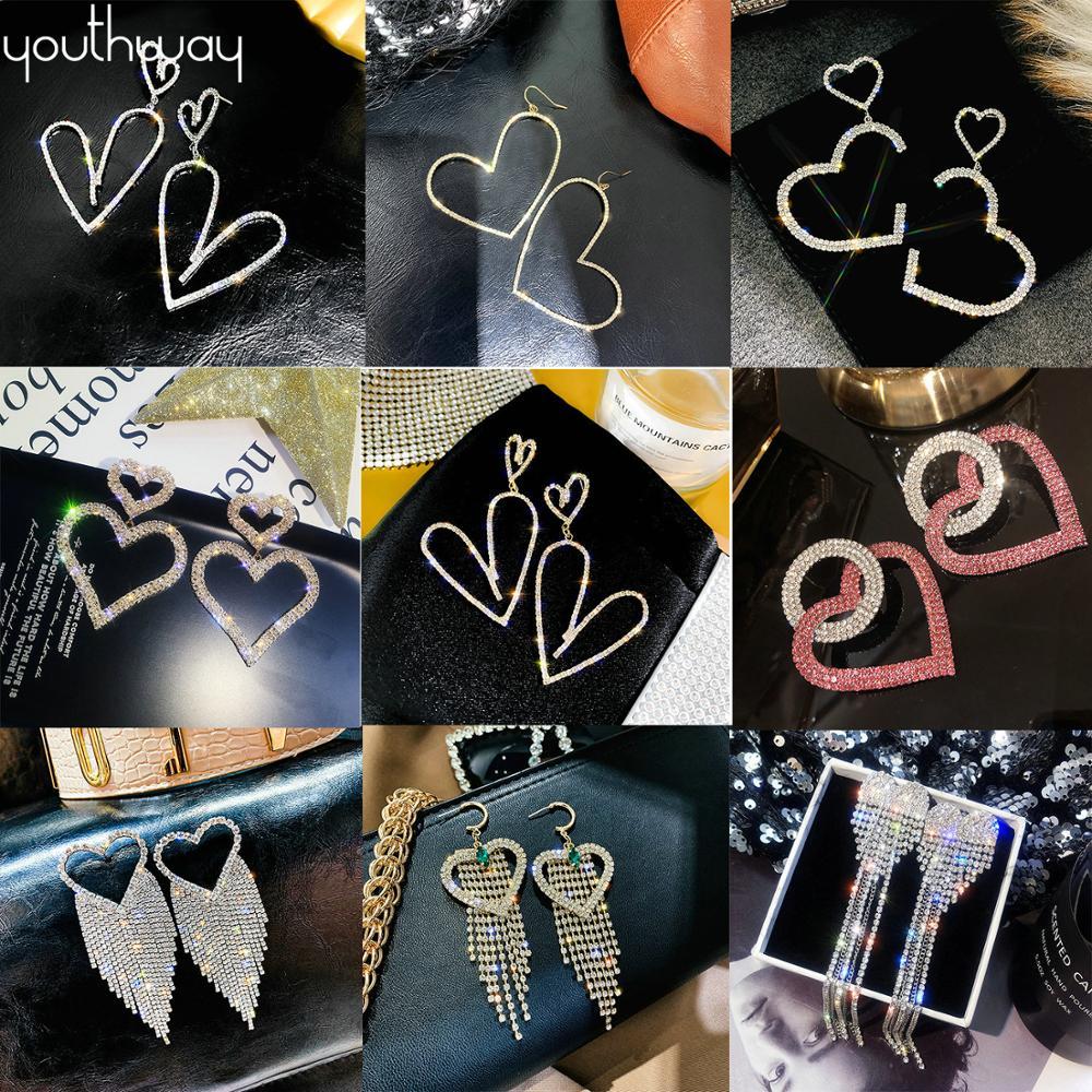 Shiny crystal heart earrings Bling Rhinestone Stud Earrings Rhinestone Big Hanging Dangle Earrings Bride Wedding valentine gifts|Drop Earrings|   - AliExpress
