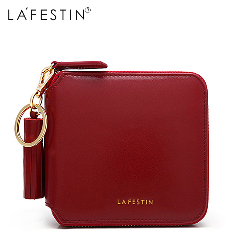 LAFESTIN Brand Women Wallet Brand Genuine Leather Short Wallet Fringe Coin Purse Credit Card Holder Lady Zipper Wallet Purses