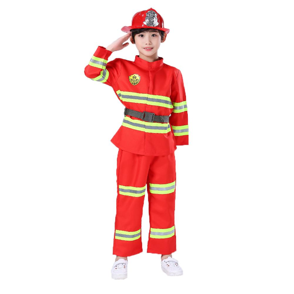 7pcs Kids Cosplay Firefighter Costume Set Performance Dress Up Clothing Pretend Play Toys Role Play Game Toy Photography Props