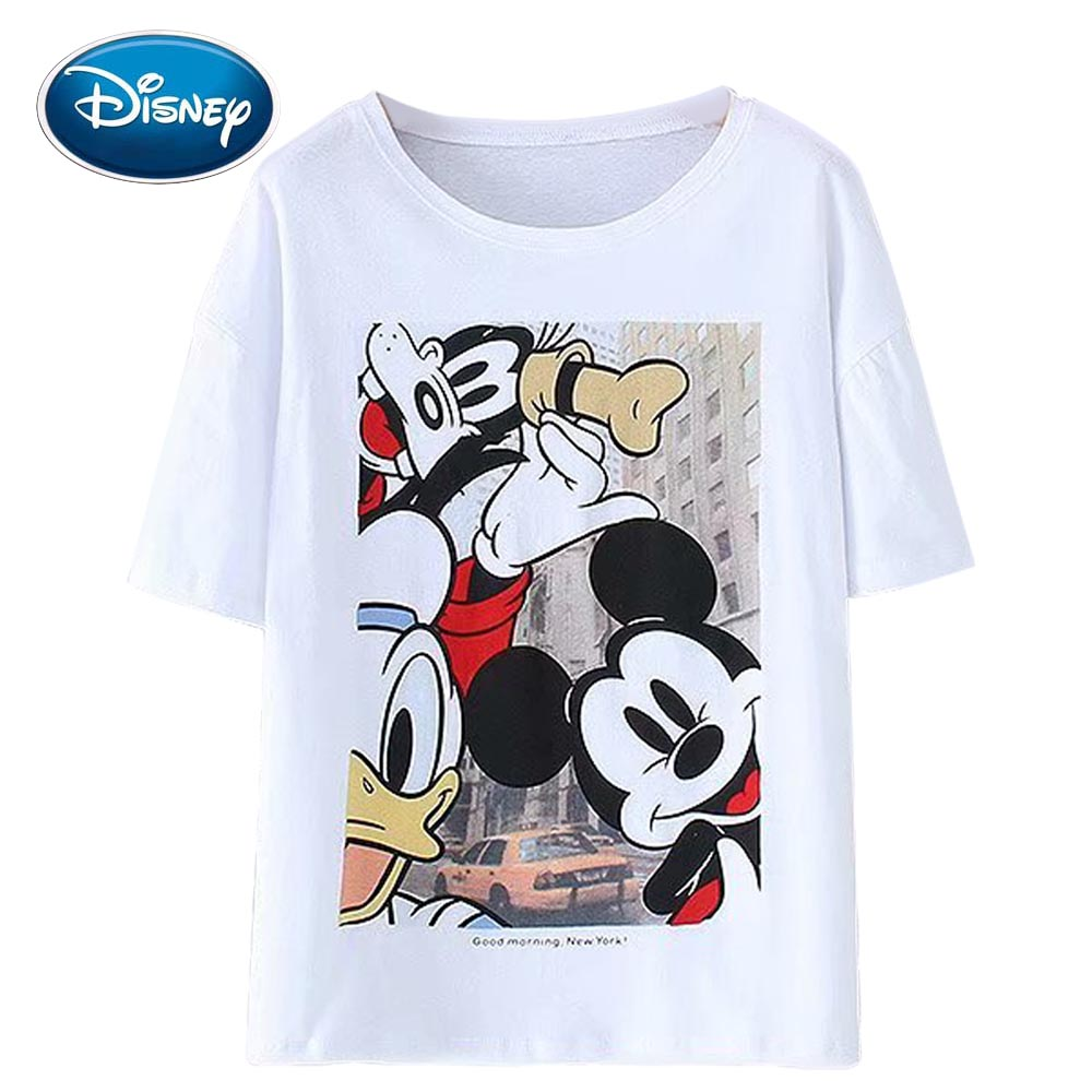 Disney Cute Korea Mickey Mouse Donald Duck Dog Cartoon Print White T-Shirt O-Neck Pullover Short Sleeve Casual Women Tee Tops
