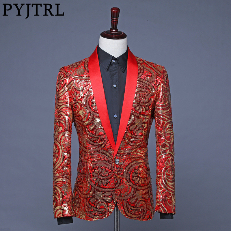 PYJTRL Mens Red Royal Blue Gold Flower Sequins Fancy Paillette Wedding Singer Stage Suit Jacket Annual DJ Blazer With Bow Tie(China)