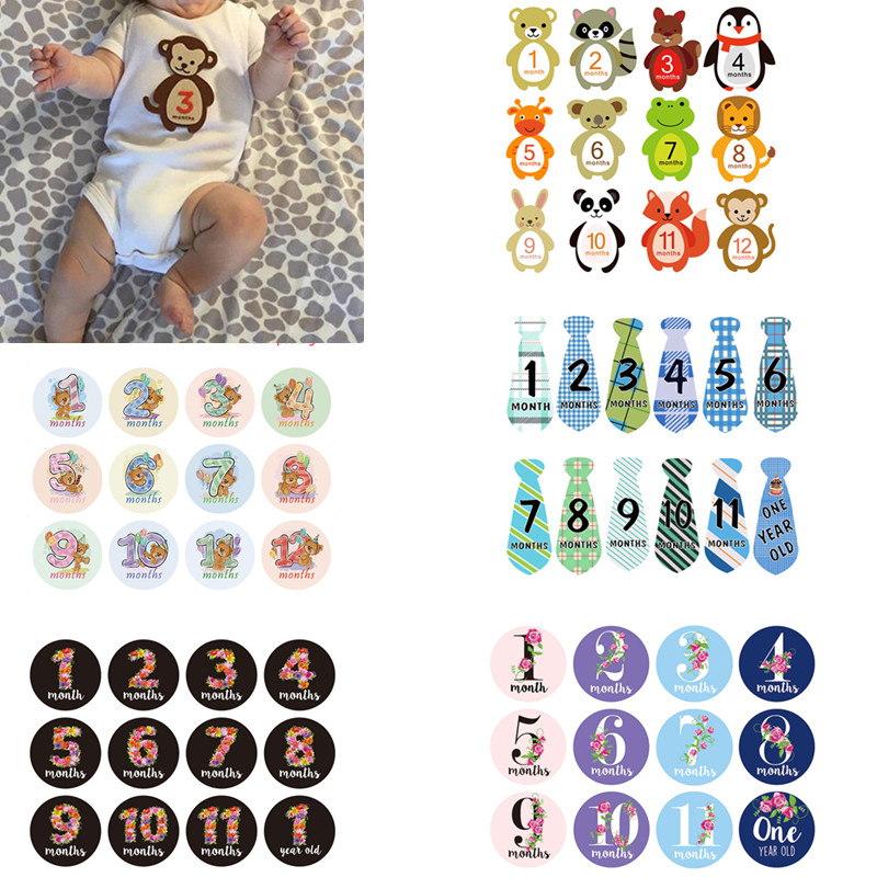 Month Sticker Newborn Kids Commemorative Card Number Photo Baby Photography Milestone Memorial Monthly