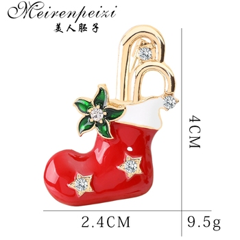 Meirenpeizi Merry Christmas Brooches Pins Cute Santa Claus Hat gloves Bells Socks Donuts Candy Enamel Pin Badges Brooch 1