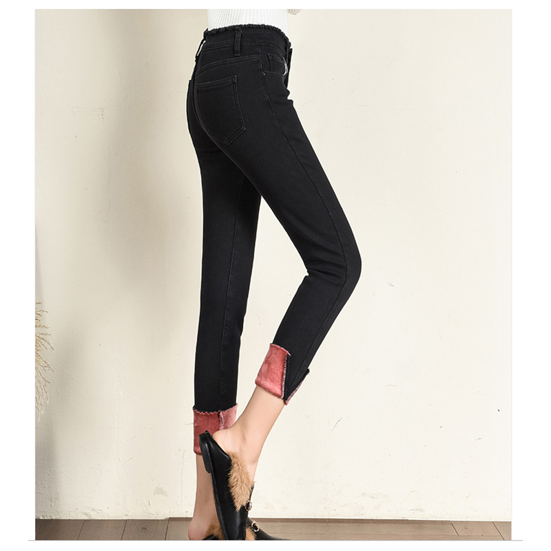 Plus Velvet Jeans Women Casual Pants High Waist Jeans Elastic Pencil Pants Fashion Denim Trousers Winter Warm Plus Size 663A