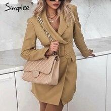 Simplee Vintage doble botonadura mujer blazer cuello vuelto fajas chaqueta caqui feminino Oficina señoras sólido moda abrigo 2019