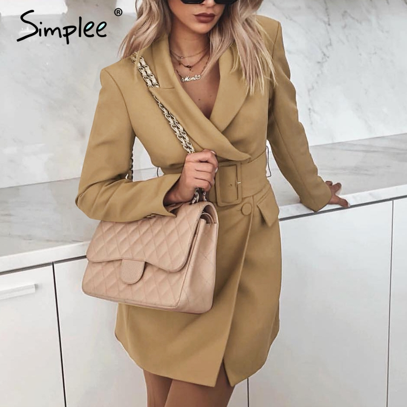 Simplee Vintage Double Breasted Women Blazer Turndown Collar Sashes Khaki Blazer Feminino Office Ladies Solid Fashion Coat 2019