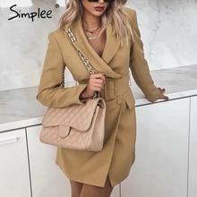 Simplee Vintage çift göğüslü kadın blazer Yatak Açma yaka sashes haki blazer feminino Ofis bayanlar düz moda ceket 2019