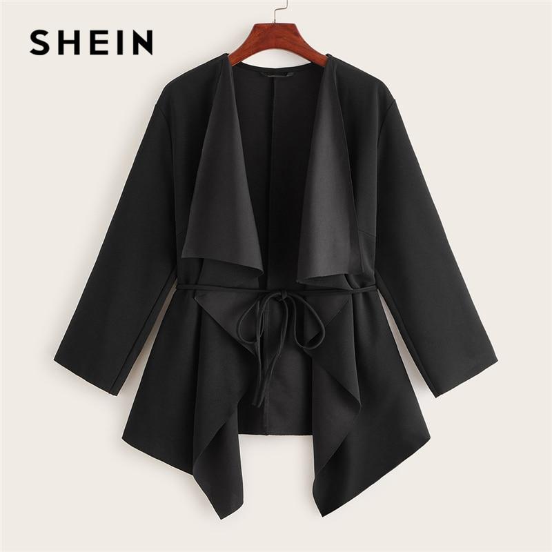 SHEIN Black Waterfall Collar Asymmetrical Hem Coat With Belt Women Coats 2019 Autumn Solid 3/4 Length Sleeve Casual Outerwear