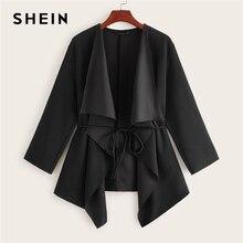 SHEIN Black Waterfall Collar Asymmetrical Hem Coat With Belt Women Coats 2019 Autumn Solid 3/4 Lengt