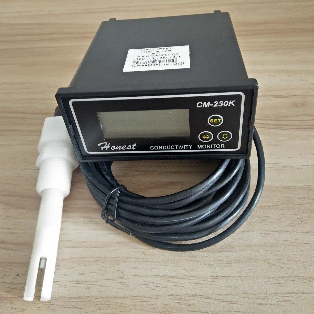 CM-230K en ligne moniteur de conductivité testeur compteur analyseur Contact relais NC 0-1999us/cm erreur 2% FS ATC alarme sortie 4-20mA