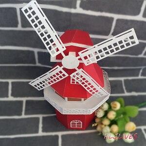 Image 2 - 3D Mulino A Vento di Metallo Fustelle Stencil per il FAI DA TE Scrapbooking Timbro/album di foto Decorative Goffratura di Carta FAI DA TE Carte