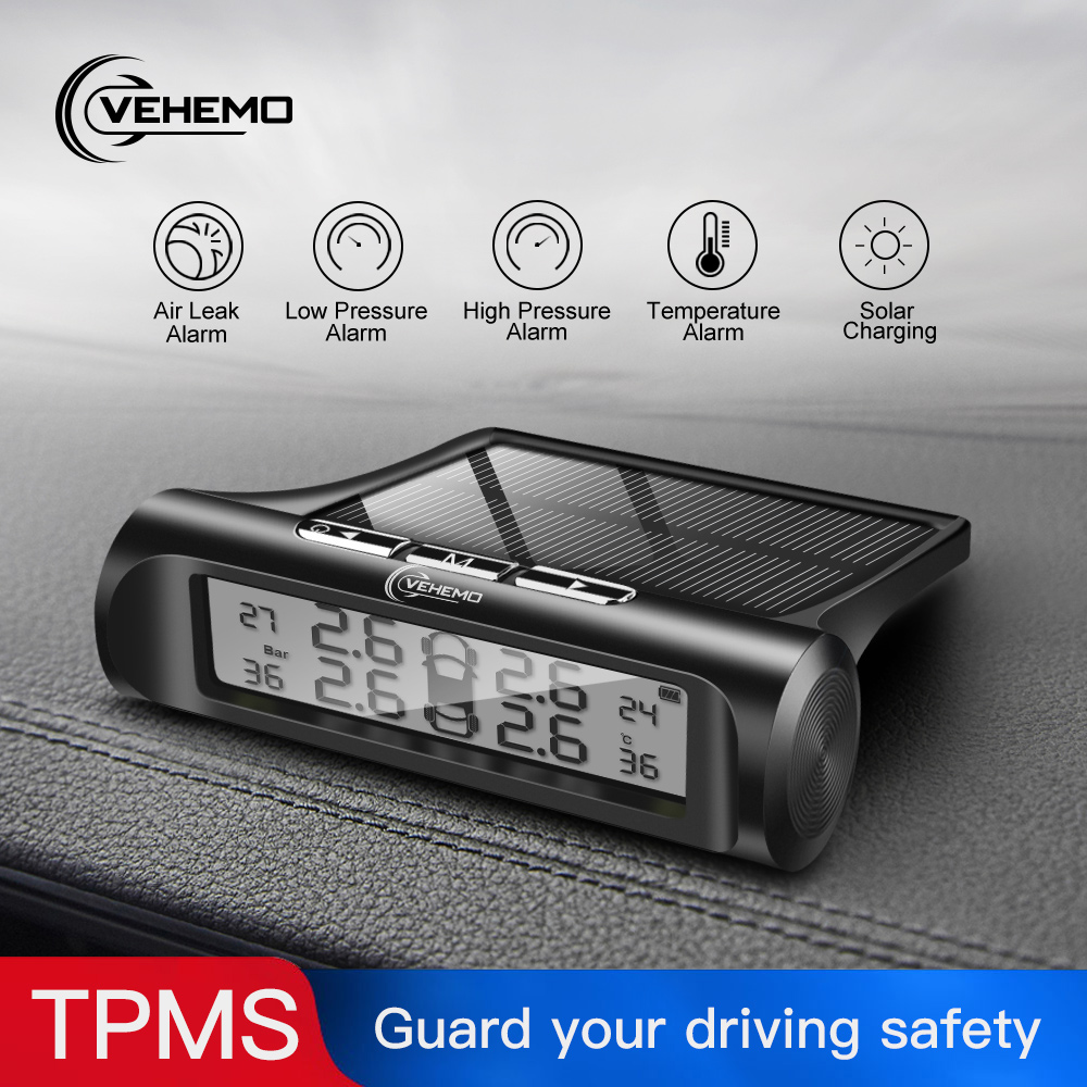 VEHEMO Solar Power TPMS Car Tire Pressure Alarm Monitor System Auto Security Alarm Systems Tyre Pressure Temperature Warning