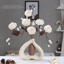Europejski nowoczesny prosty wazon ceramiczny kwiat wysokiej jakości wazony dekoracyjne dekoracje czy domu mody rzemieślnicze dek