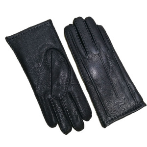 Image 2 - Deerskin gloves womens thin wool lining hand stitched autumn warm outdoor travel black ladies driving leather gloves