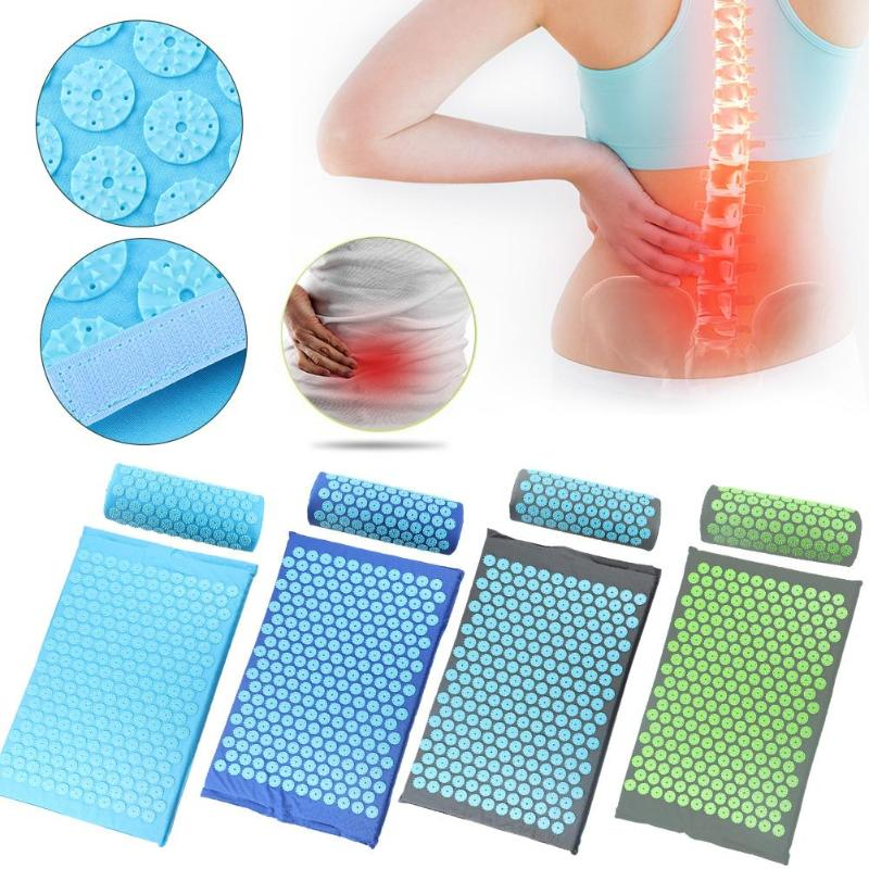 Massager 1set(Cushion+Pillow)Cushion Massage Mat Acupressure Relieve Back Body Pain Spike Mat Acupuncture Massage Yoga Pillow|Massage Cushion|   - AliExpress