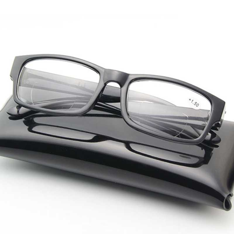 ใหม่สีดำแว่นตาอ่าน Bifocal สีน้ำตาลใหม่เลนส์ Vision Sun reader gafas de lectura Oculos แว่นตาแว่นขยายแว่นขยาย