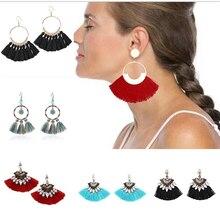 New Vintage Earring For Women Bohemia Long Tassel Drop Dangle Earrings Red White Green Purple Silk Fabric Earings Ethnic Jewelry цена