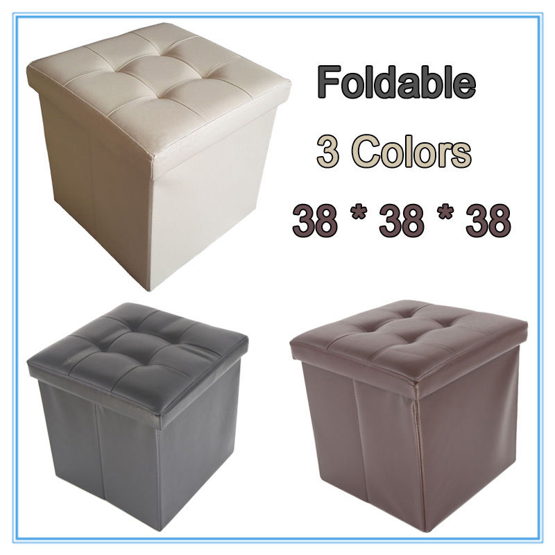 Foldable Leather Sofa Footstool Ottoman Folding Footrest Seat Lounge Storage Box