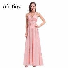Its Yiiya Bridesmaid Dress Plus Size Robe Demoiselle D Honneur Sexy Halter Backless Tank Long Women Party Dresses 2019 C491