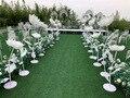 Искусственный шелк цветок Свадьба дорога ведущий событие грандиозный сценический открытый вечерние дорожки прохода цветок стенд витрина ...