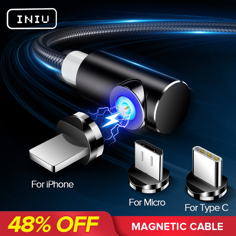 INIU 2 м Магнитный кабель Micro Тип usb C Зарядное устройство для зарядки для iPhone XS X XR 8 7 samsung S8 магнит Android телефонный кабель Шнур