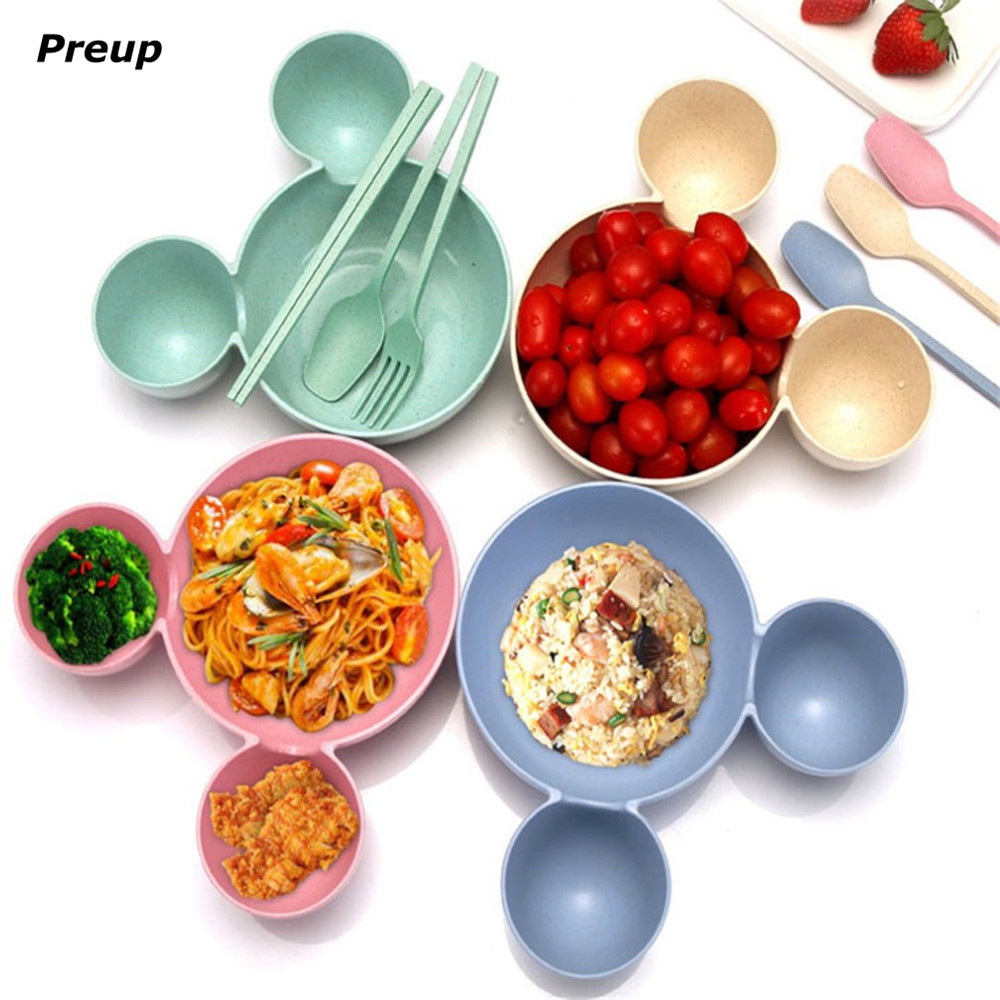 Hot! Preup Cartoon Minnie Mouse Bowl Dishes Baby Feeding Bowl Children Food Container Fruit Plate Tableware Registered Air Mail