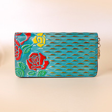 Rose Pattern Embossed Cow Leather Money Clip Women Vintage Floral Brushed  Cowhide Genuine Leather Wallet Female Retro Purse
