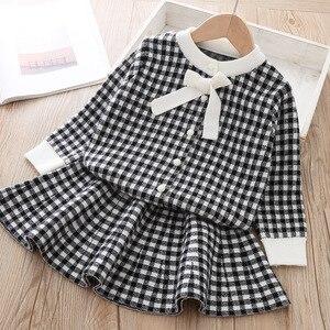 Image 4 - Keelorn Frühling Marke Mädchen Kleid 2020 Neue Ankunft Oansatz Bogen Plaid Kinder Kleidung Sets Boutique Kinder Kleidung Kleid 3 8Year