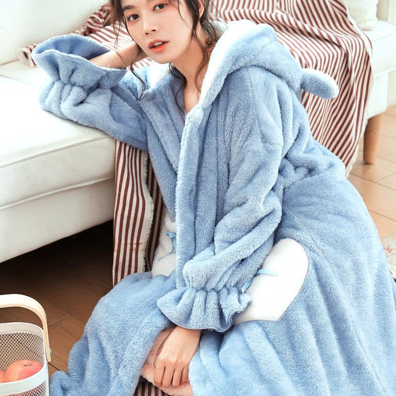 Long Lovely Coral Fleece Kimono Bathrobe With Buttons Cartoon Cute Female Hooded Robe Gown Women Thicken Sleepwear Nightgown