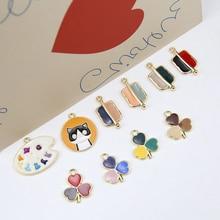 6pcs Hot Sale Earrings Fashion Alloy Drip Fun Clover Pendant Cartoon For Women Girls Children Diy Jewelry Accessories