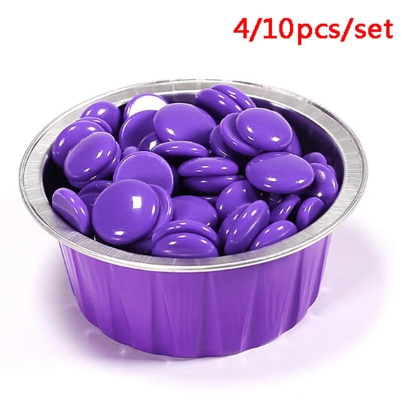 10/4 Pcs Hard Wax Beans Bowl 30g Capacity Cute Purple Color Round Shape Aluminum Foil Wax Melting Bowl