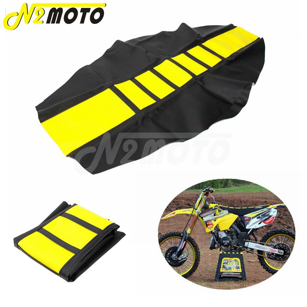 Черно-желтый чехол на сиденье RM 125, обложка на сиденье для мотокросса, эндуро, ребристый чехол на сиденье, захват для тяги для Suzuki DR650 DRZ, техни...