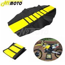 Preto & amarelo rm 125 capa de assento motocross enduro com nervuras tração pinça para suzuki dr650 drz rmz RM-Z 650 125 250 450