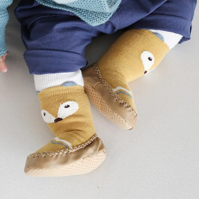 Cotton Cartoon Baby Shoes Slip On Soft Toddler Shoes Non Slip Baby Floor Socks