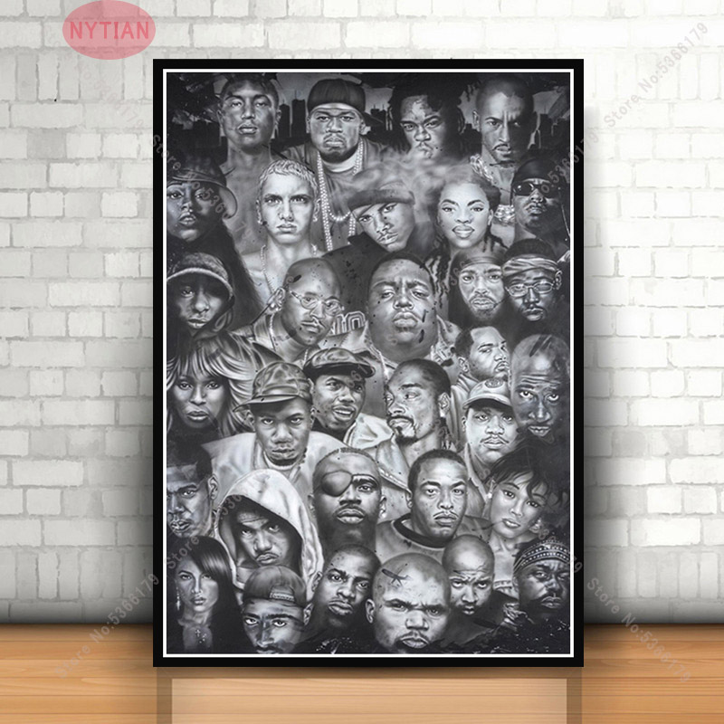 T570 Hot Biggie Smalls BIG 2Pac Tupac Black White Star Classic Poster Art Print