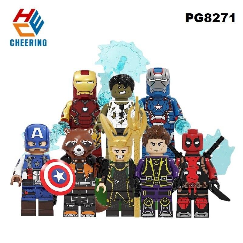 Building Blocks Super Heroes Hawkeye Loki Rocket Racoon Captain America Deadpool Hulk Iron Man Figures Toys For Children PG8271