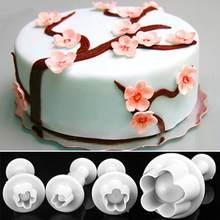 Moule à Fondant avec poussoir de fleur de prunier, coupeur de Sugarcraft, coupe de gâteau, outil de décoration de biscuits, ustensiles de cuisson, 4 pièces