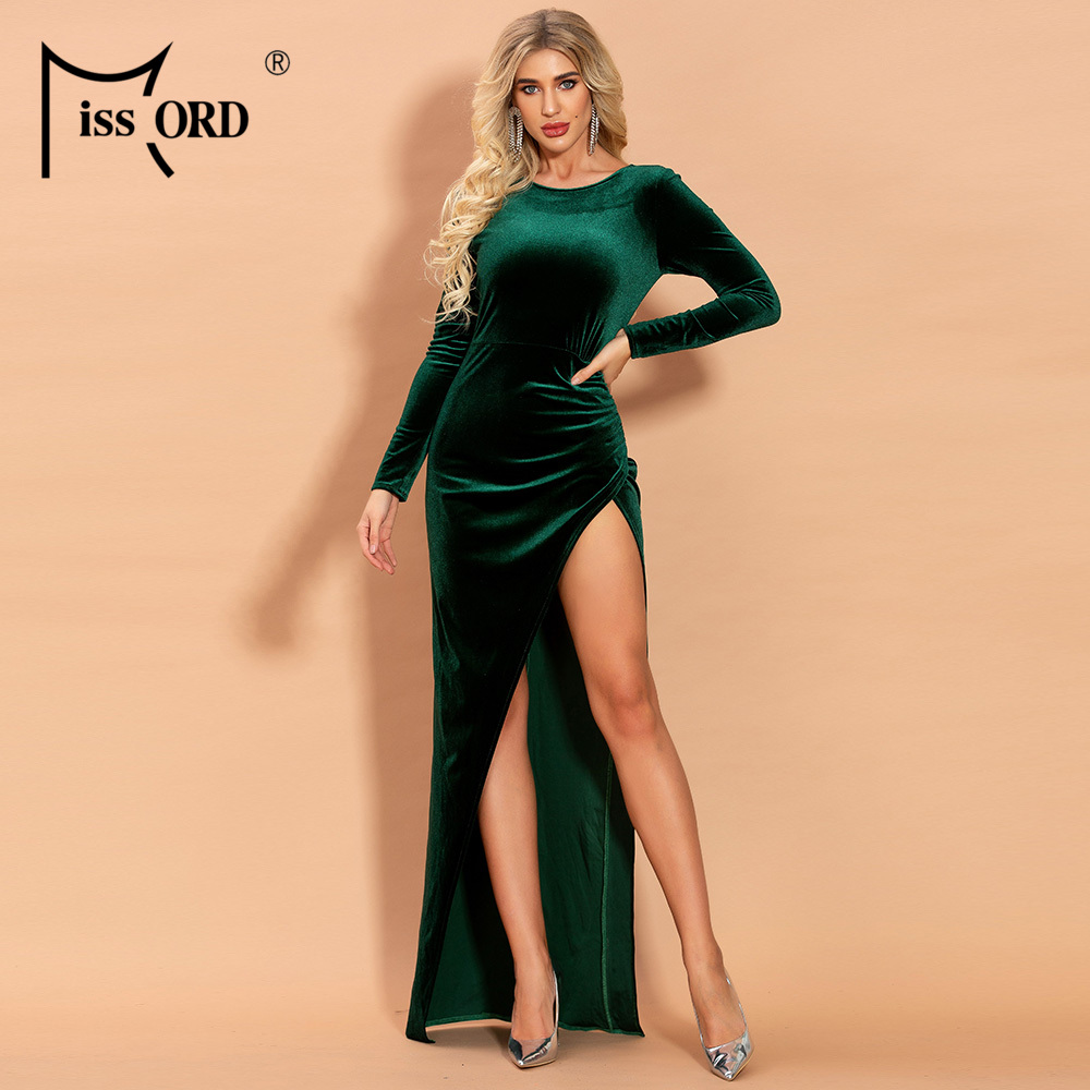 Missord 2020 Women O Neck Long Sleeve Velvet Dresses Female Elegant High Split Maxi Dress FT19989