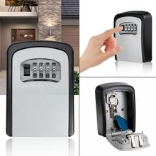 Key Lock Box  4 Digit Combination Wall Mounted Aluminum alloy Key Safe Box Weatherproof Key Storage Lock Box Indoor Outdoor