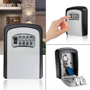 Image 1 - Key Lock Box  4 Digit Combination Wall Mounted Aluminum alloy Key Safe Box Weatherproof Key Storage Lock Box Indoor Outdoor