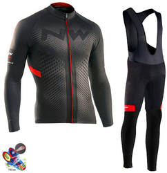 NW Pro Cycling Jersey Set Long Sleeve Breathable MTB Bike Clothes Wear Bicycle Cycling Clothing Ropa Maillot Ciclismo